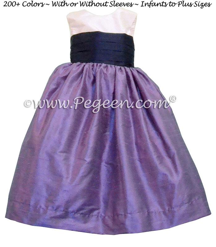 Flower Girl Dresses Style 398 Violet & Grape Silk | Pegeen
