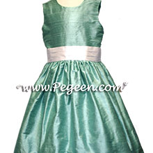 white and waterfala teal silk  flower girl dresses