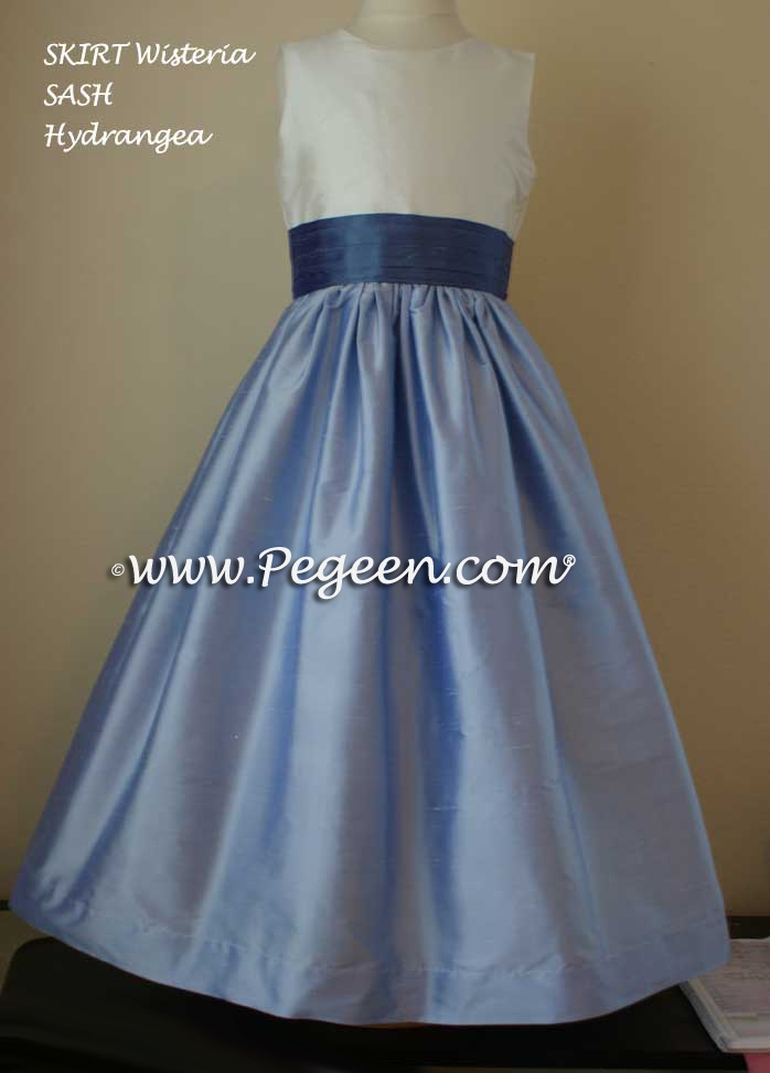 Hydrangea blue and wisteria flower girl dresses