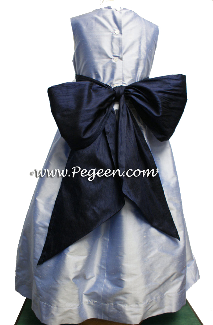Wisteria and Navy flower girl dresses