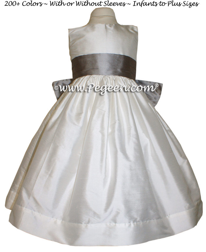Wolf Gray and Antique White flower girl dresses
