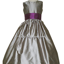WOLF GRAY AND THISTLE (PURPLE) FLOWER GIRL DRESS Style 398 by Pegeen