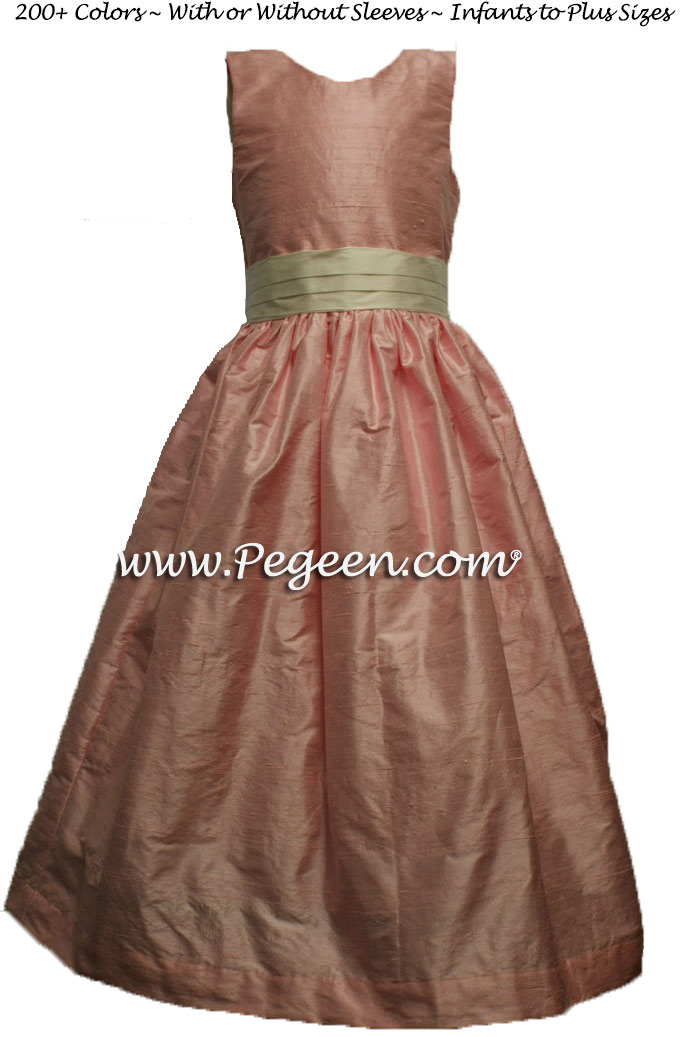 Flower Girl Dress in Hibiscus Pink and Bisque Style 398 | Pegeen
