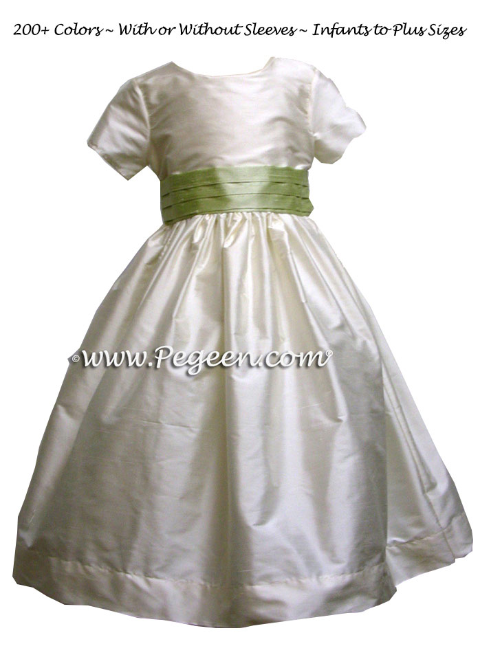 FLOWER GIRL DRESSES in summer green with a tiny cap sleeve