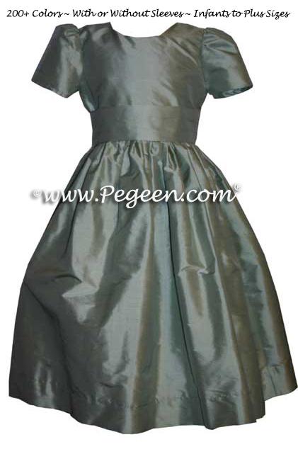 Celedon green silk flower girl dresses