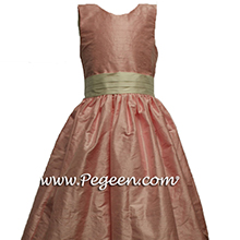 IN HIBISCUS PINK AND BISQUE DLOWER GIRL dresses