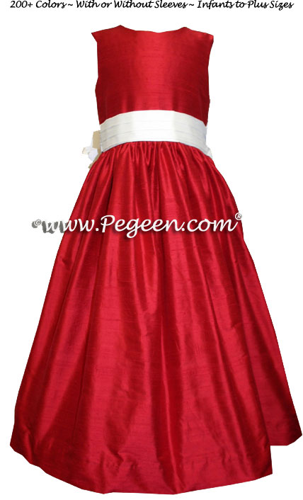 Christmas Red and White CUSTOM SILK FLOWER GIRL DRESS - Style 398 | Pegeen