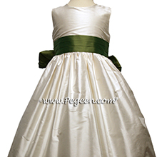 BASIL GREEN (CLOVER) and NEW IVORY FLOWER GIRL DRESS Style 398 by Pegeen