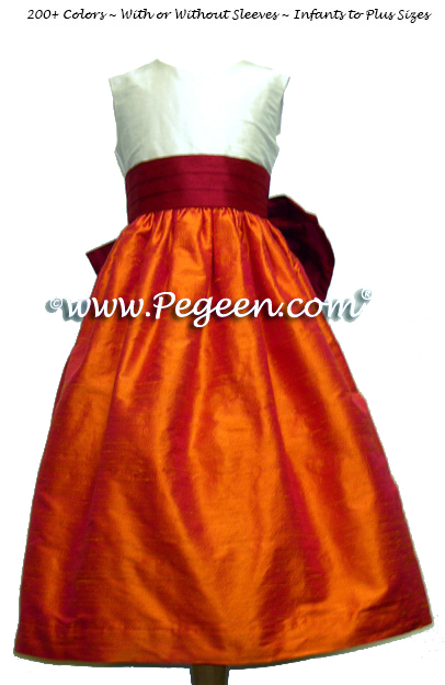 Mango orange and cranberry red flower girl dresses