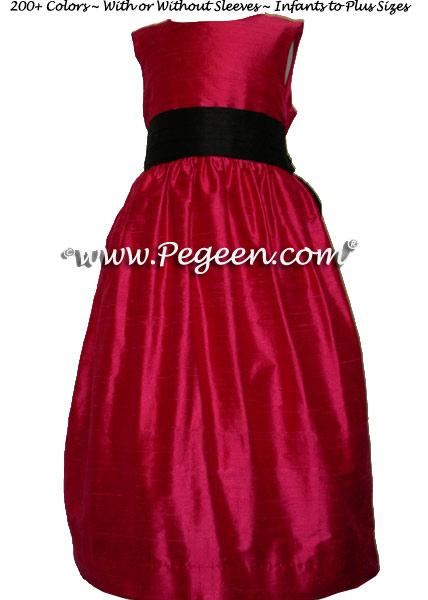 Lipstick pink and Black flower girl dresses