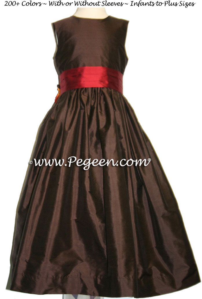 Poppy Red and chocolate brown CUSTOM FLOWER GIRL DRESSES