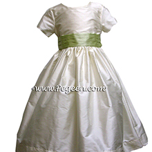 ivory and light summer green with cap sleeve for flower girl dresses