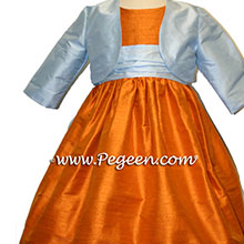 TANGERINE AND LIGHT BLUE flower girl dresses