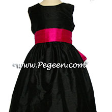 RASPBERRY AND BLACK FLOWER GIRL DRESSES