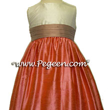 Coral rose and taupe silk flower girl dresses