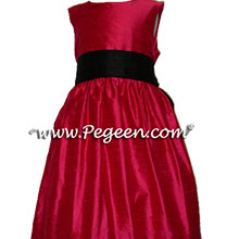 RASPBERRY BLACK FLOWER GIRL DRESSES