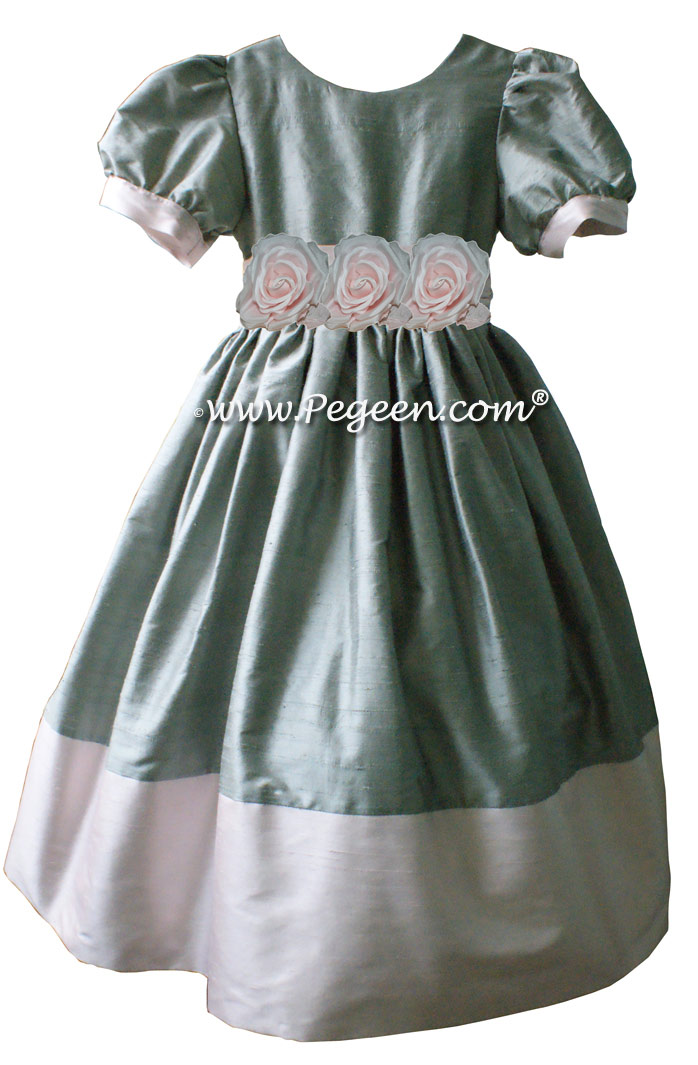 Morning Gray and Peony Pink Silk Flower Girl Dresses style 401