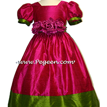 RASPBERRY AND LIME GREEN flower girl dresses
