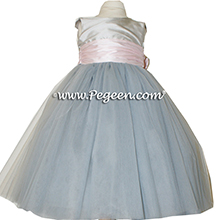 Morning Gray, Petal Pink and Platinum ballerina style Flower Girl Dresses with layers and layers of tulle