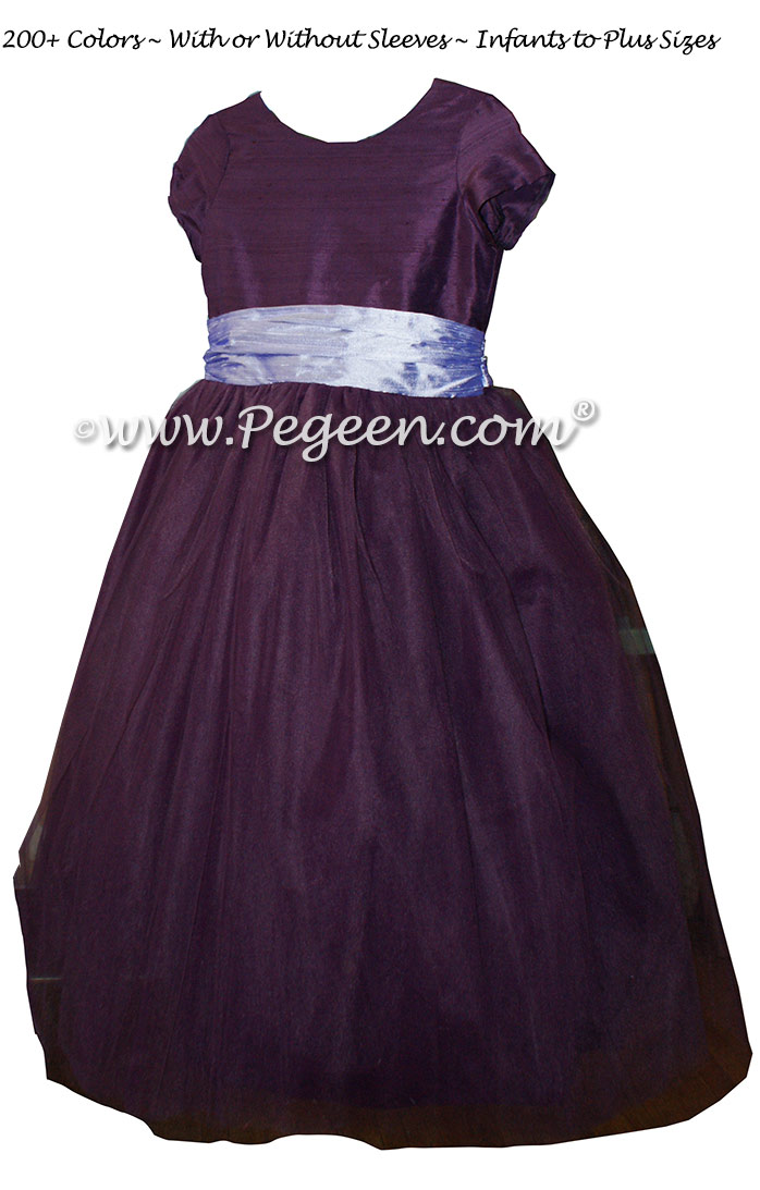 Flower Girl Dresses in 1000 Nights and Lilac Silk and Tulle   Pegeen