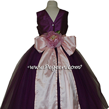 1000 Nights (plum) and Lotus Pink ballerina style Flower Girl Dresses with layers and layers of tulle