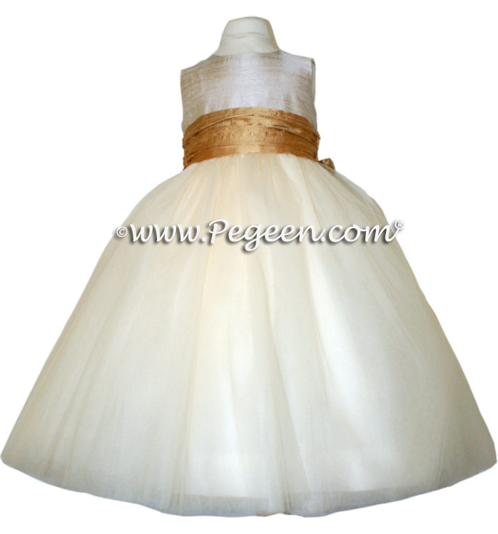 18 Karat and new ivory silk flower girl dresses