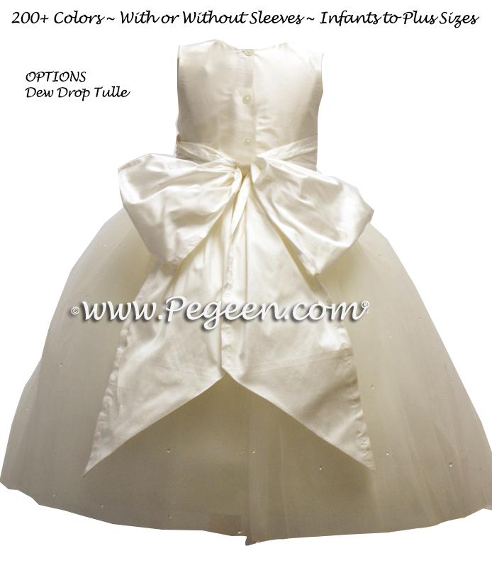 ivory tulle silk flower girl dresses with sparkle dew drops degas style ballerina tulle dress