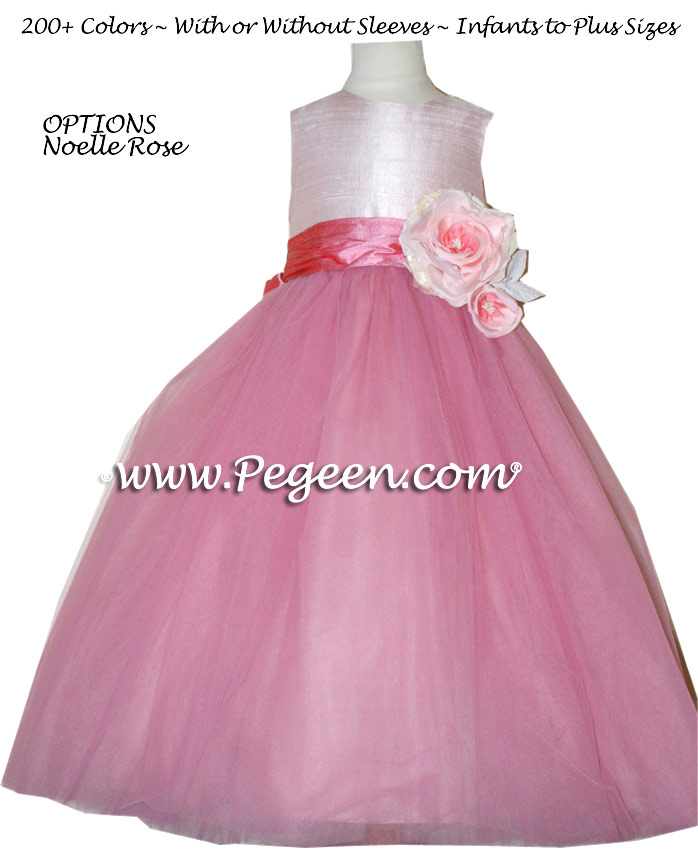 Pegeen's bubblegum pink and chocolate Tulle FLOWER GIRL DRESSES with 10 layers of tulle