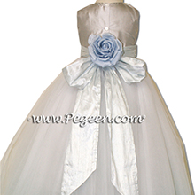 platinum silver and steele blue tulle and silk flower girl dresses