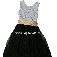 French Blue, Black and Pure Gold Tulle and aloncon Lace Tulle Flower Girl Dresses