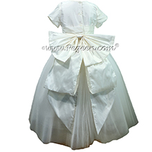 Antique White Crystal Tulle Flower Girl Dresses with Cinderella Sash