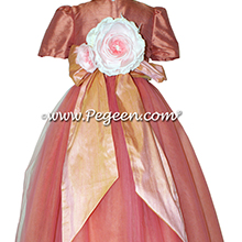 Apricot and Icing ballerina style Flower Girl Dresses with layers of tulle
