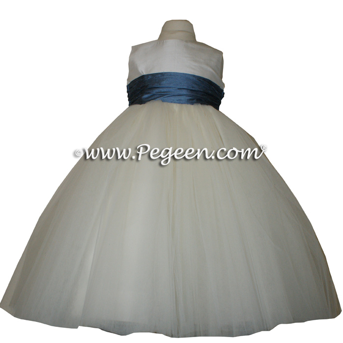 Arial Blue and New Ivory flower girl dresses