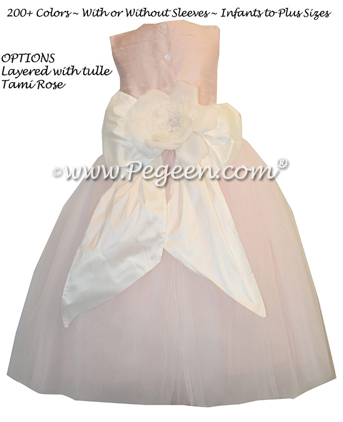 Flower girl Dresses in Baby Pink with a Special Back Flower
