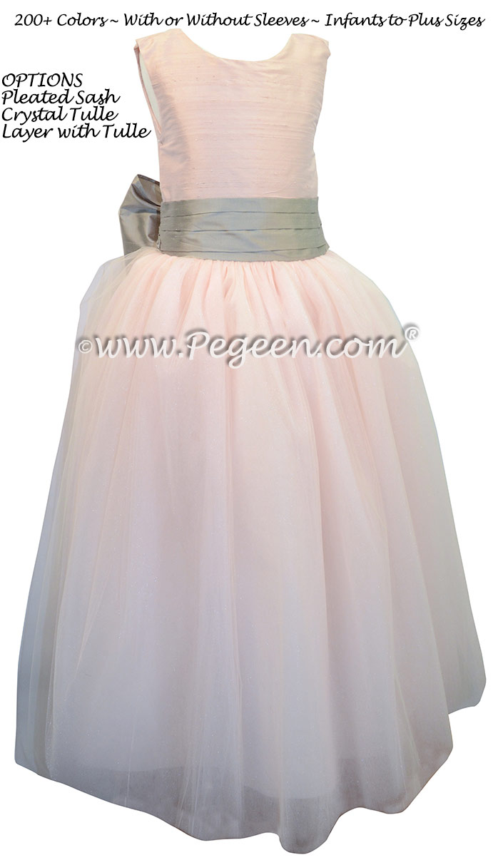 Champagne Pink and Platinum ballerina style with white tulle