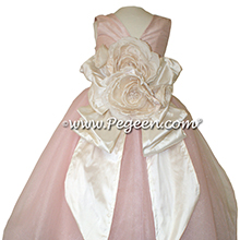 Bisque (creme) and Ballet Pink silk and  tulle ballerina style Flower Girl Dresses Style 402 Pegeen