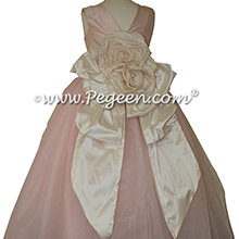 Ballet Pink and Bisque ballerina style FLOWER GIRL DRESSES with layers of tulle