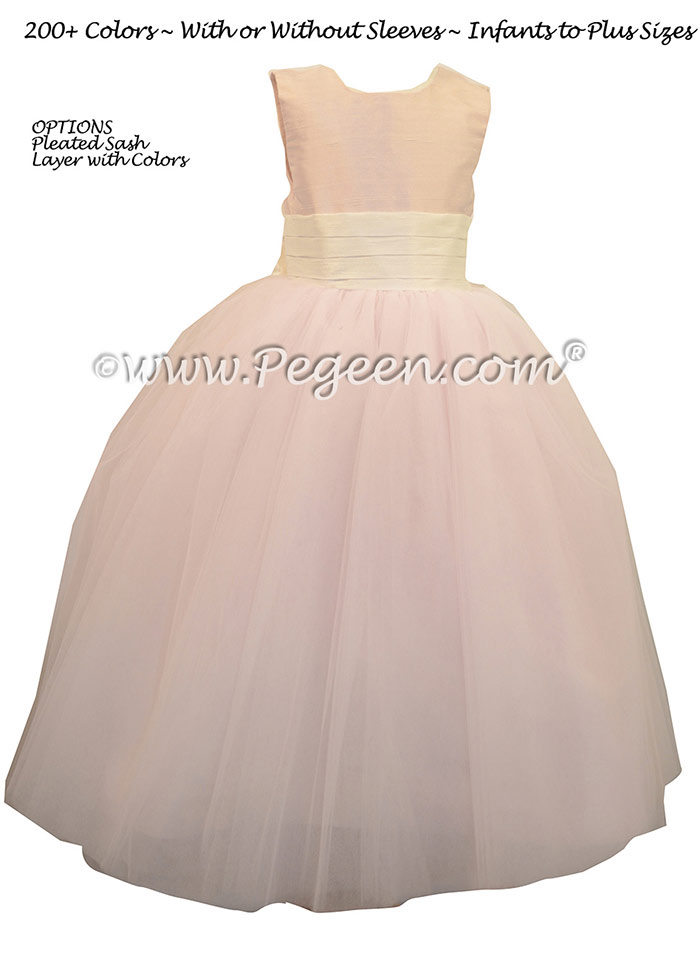 Baby Pink and Bisque (creme) ballerina style FLOWER GIRL DRESSES with layers and layers of tulle