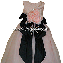 Black and Ballet Pink silk and tulle ballerina style flower girl dresses
