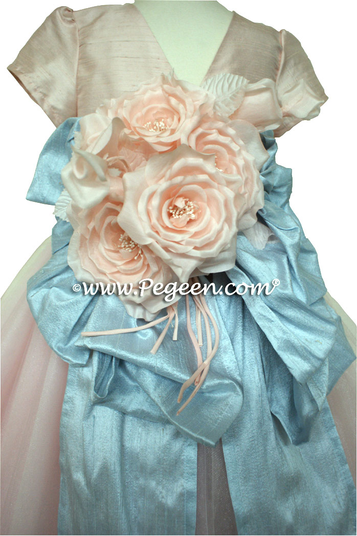 Ballet Pink and Cloud Blue Ballerina Style Flower Girl Dresses