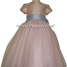 3896a95456 ... Ballet Pink and Artic Blue ballerina style Flower Girl Dresses with  layers and layers of tulle ...