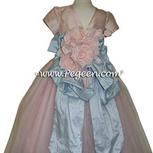 Ballet Pink and Artic Blue ballerina style Flower Girl Dresses with layers of tulle