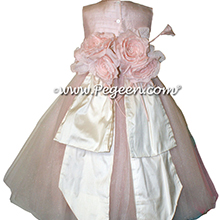 Ballet Pink and Bisque (creme) ballerina style Flower Girl Dresses with layers of tulle
