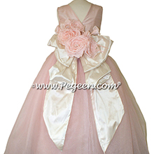 Pink Flowers, Bisque (creme) and Ballet Pink silk and  tulle ballerina style flower girl dresses Style 402 Pegeen