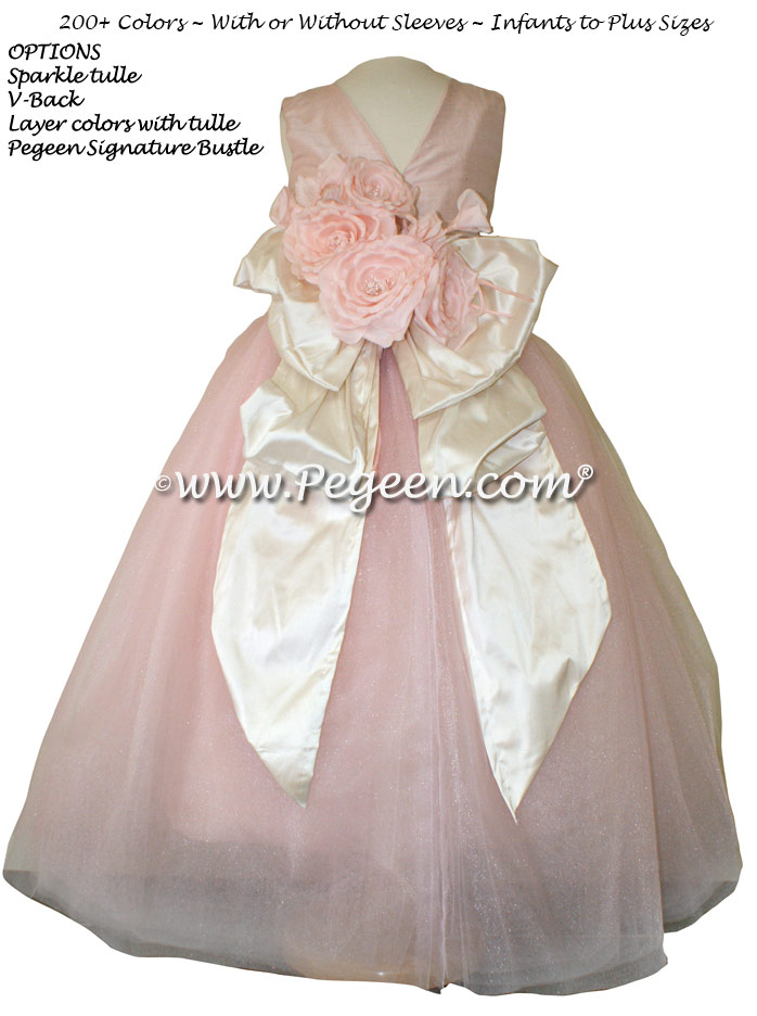 Pink Flowers, Bisque (creme) and Ballet Pink silk and tulle  flower girl dress