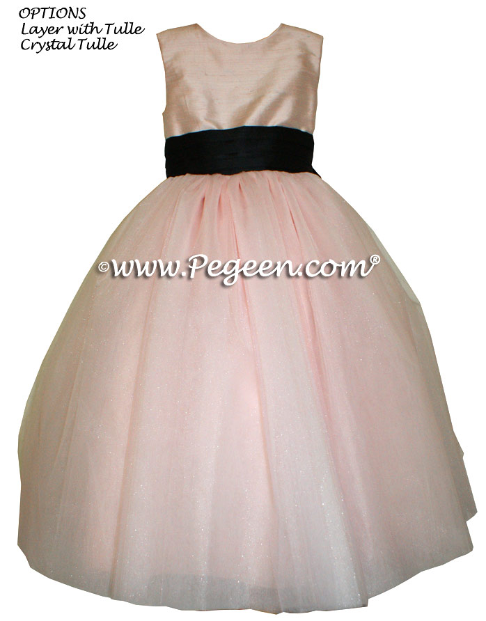 Flower girl dress Black and Ballet Pink silk and tulle ballerina style | Pegeen