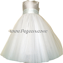 platinum silver and bay (light aqua) tulle and silk flower girl dresses