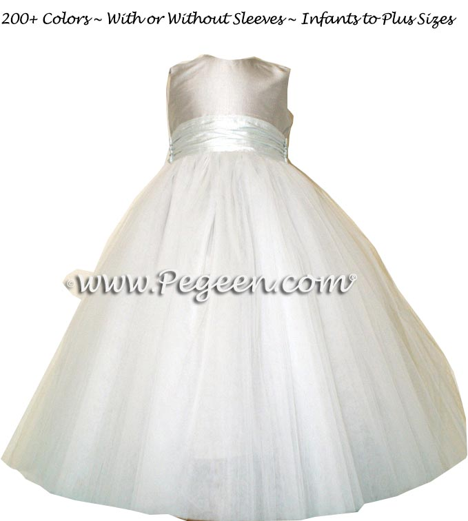 PLATINUM AND BAY BLUE ballerina style FLOWER GIRL DRESSES with layers and layers of tulle