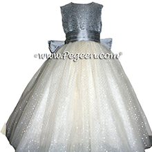 Silver Gray and Glitter Tulle with Metallic Crystal Bodice - Pegeen Couture Style Flower Girl Dress