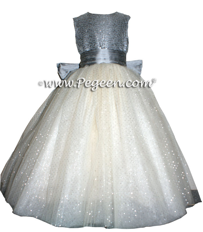 Silver Gray and Glitter Tulle silk ballerina style FLOWER GIRL DRESSES with layers and layers of tulle